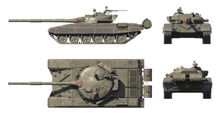 Wall Mural - 3D render of Russian main battle tank T-72