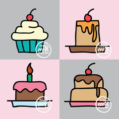 gluten free food, cakes, icon. vector illustration
