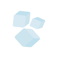 Ice cubes set. Blue ice cubes. Vector illustration