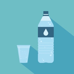 Plastic bottle of pure water with lable and drop on it. Plastic cup of water. Set. Vector illustration