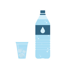 Plastic bottle of pure water with lable and drop on it. Plastic cup of water with ice cubes. Set. Vector illustration