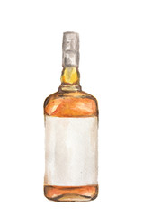Watercolor alcohol bottle on white background. Alcohol beverage. Drink for restaurant or pub. Wiskey or liquor.