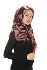 beautiful young muslim women with scarf in studio