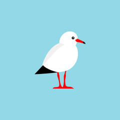 Vector bird isolated on a blue background.