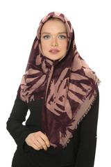 beautiful young muslim women posing in scarf at studio