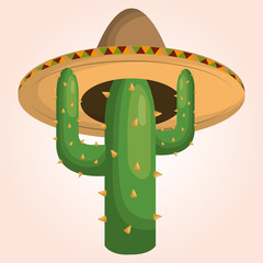mexican cactus character icon vector illustration design