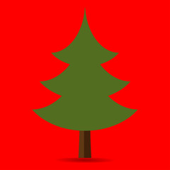 green tree on a red background.Christmas tree elegant with ornaments and New Year
