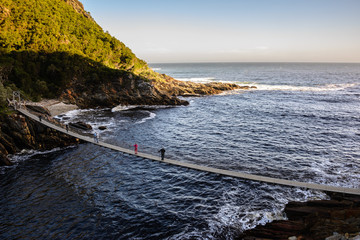 Suspension Bridge over the Storms River Mouth in Tsitsikamma National Park, South Africa Wall mural