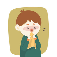 Sick boy has runny nose, caught cold. sneezing into Tissue, flu, Allergy season, Vector illustration