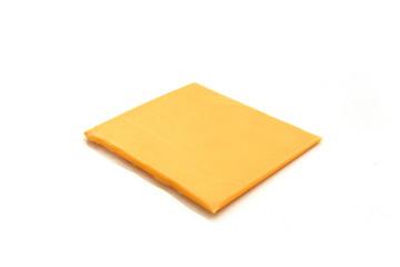 Scheibletten Käse scheibe auf weissen hintergrund
