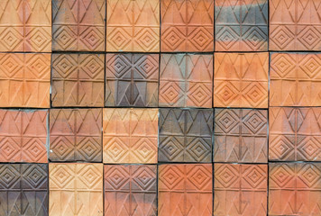 Old vintage earthenware wall tiles patterns handcraft