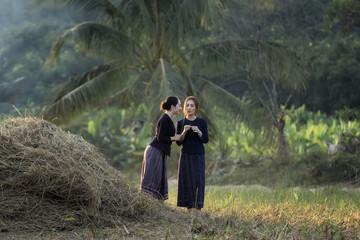 Happniness rural woman in rural area.