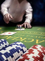 poker player at blackjack casino table