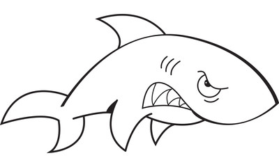 Black and white illustration of an angry shark.