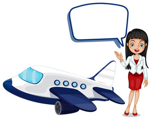 Speech bubble template with girl and airplane