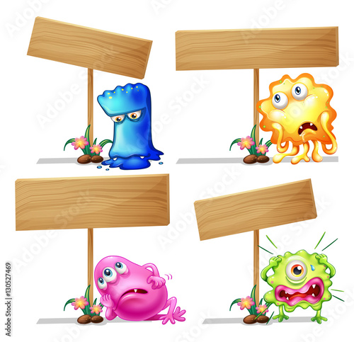 wooden sign template with cute monsters stock image and royalty