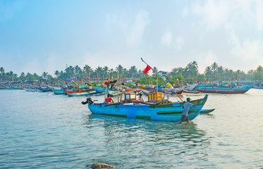 The fishing boat in Hikkaduwa port