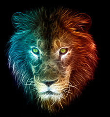 Digital fantasy fractal design art of a lion
