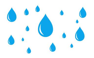 Viele blaue Wassertropfen