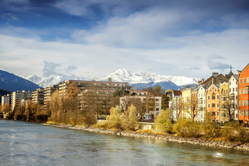 Beautiful cityscape. Innsbruck, Austria. Popular holiday destina
