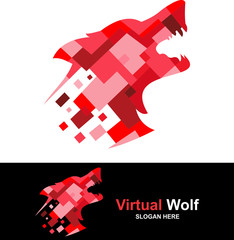 logo digital of red wolf abstract