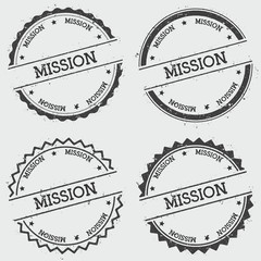 Mission insignia stamp isolated on white background. Grunge round hipster seal with text, ink texture and splatter and blots, vector illustration.