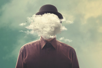head in the clouds minimalist concept Wall mural