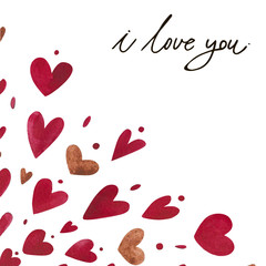 Watercolor heart pattern with lettering I love you. Ornament