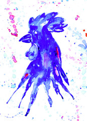 watercolor rooster blue. Hand drawn illustration for your graphic design. Rooster - a symbol of the 2017 New Year