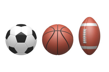 Soccer ball ,Basketball, American Football on white background. 3D illustration