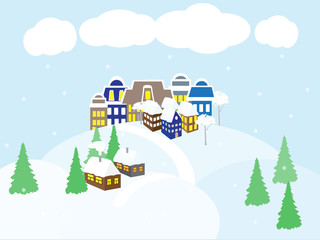 Country landscape in winter, city and country houses