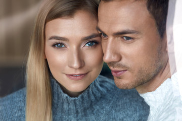 Love And Care. Handsome Man And Beautiful Woman Closeup Portrait