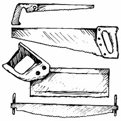 Hand saw. Two-handed saw