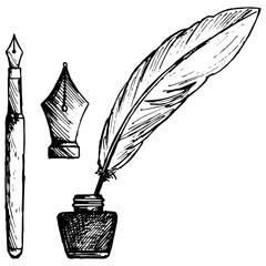 Ancient pen, inkwell and old ink pen