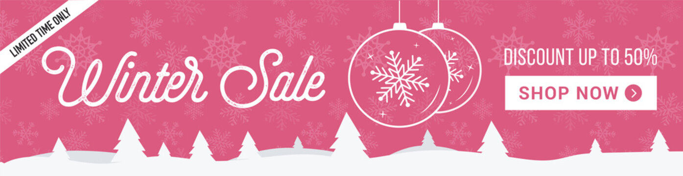 Winter sale horizontal banner. Pink, gentle banner with snowflakes background