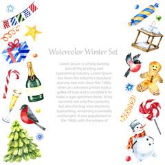 Watercolor winter frame design.
