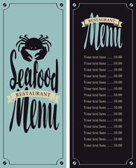 vector menu for seafood restaurant with a picture of crab and Price