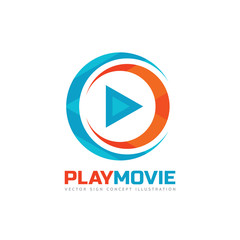 Play movie - vector logo template concept illustration. Music or movie player icon application. Multimedia sign. Digital tv symbol. Audio insinia. Abstract triangle shape.