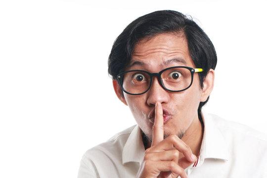 Funny Asian Man Shushing Gesture