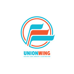 Union wing - business logo template creative illustration. Wing abstract vector sign. Circle and stripes design element.