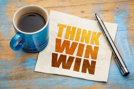 Think win-win concept on napkin