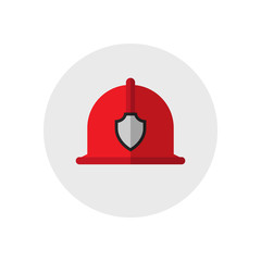 Firefighter helmet. Single silhouette fire equipment icon. Vector illustration. Flat style.