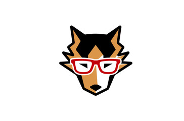 Hushy Dog Geek Head Design Illustration