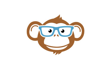 Monkey Geek Cartoon Design Illustration