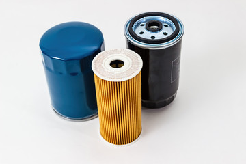Car oil filter  on a white background isolated.  Auto Parts. Spare parts.