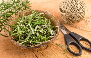 rosemary in a coconut shell