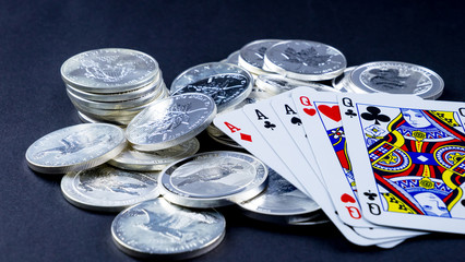 Silver coins and cards