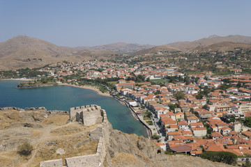 Lemnos/Limnos island city beach vie from medieval fortress. Myrina townlandscape.