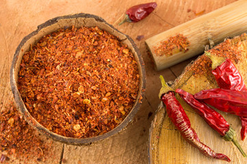 Cayenne pepper and dried peppers