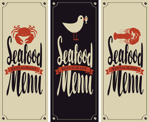 vector set cover menu for seafood restaurant with a picture of crab, cancer and seagull